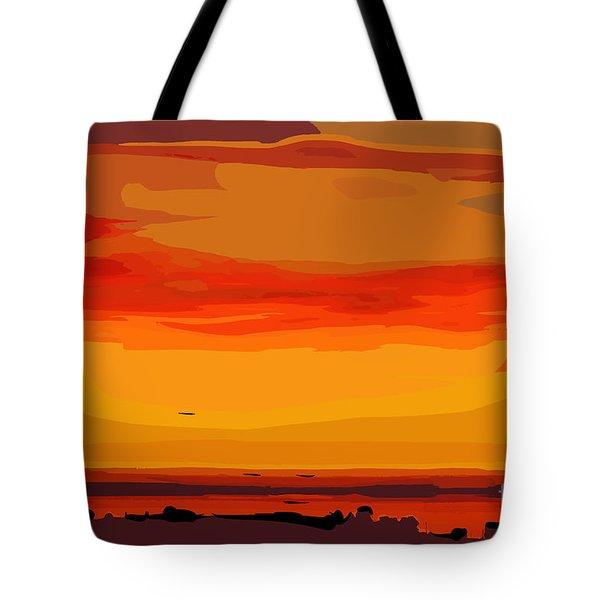 Tote Bag featuring the digital art Orange Ocean Sunset by Kirt Tisdale