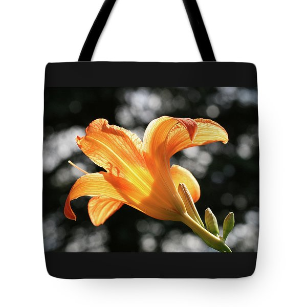 Orange On Gray Lily Tote Bag