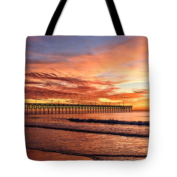 Orange Pier Tote Bag