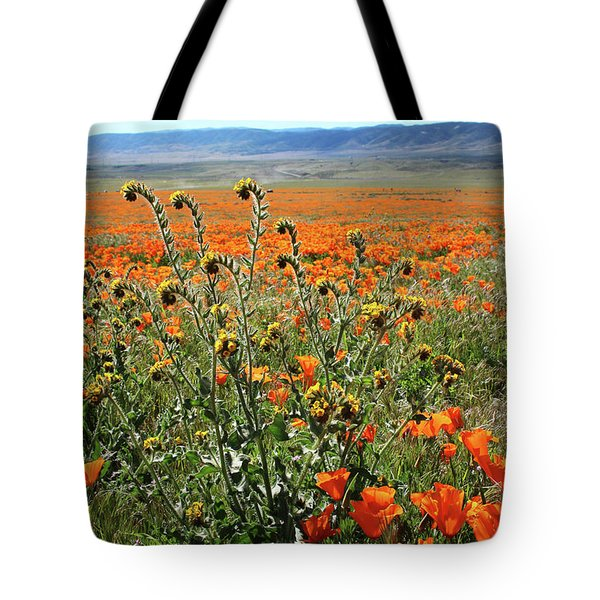 Tote Bag featuring the mixed media Orange Poppies And Fiddleneck- Art By Linda Woods by Linda Woods