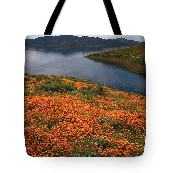 Tote Bag featuring the photograph Orange Poppy Fields At Diamond Lake In California by Jetson Nguyen