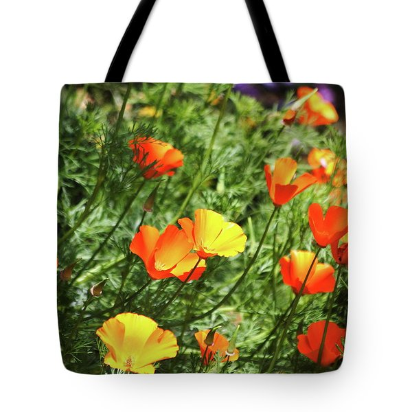 Orange Poppy Flowers . R1269 Tote Bag by Wingsdomain Art and Photography