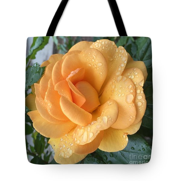 Orange Rain Drops Tote Bag