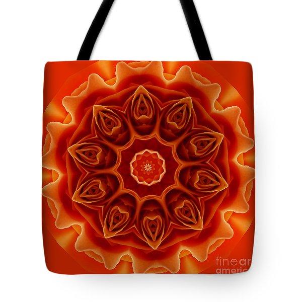 Orange Rose Mandala Tote Bag