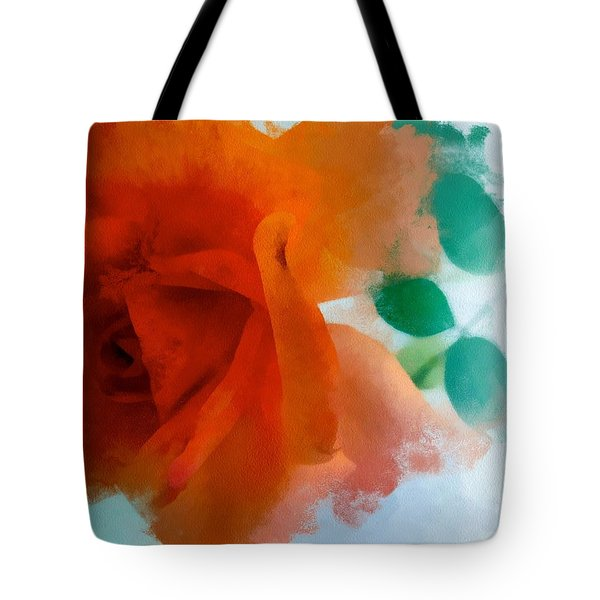 Tote Bag featuring the digital art Orange Rose by Patricia Strand