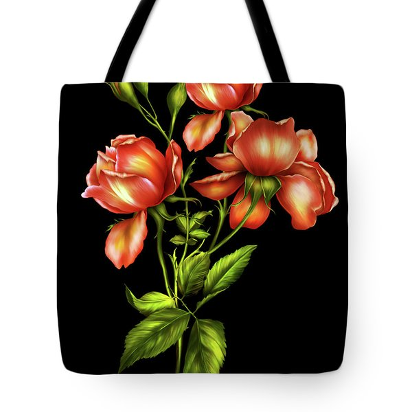 Orange Roses On Black Tote Bag