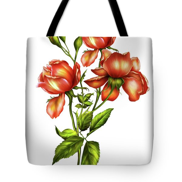 Orange Roses On White Tote Bag