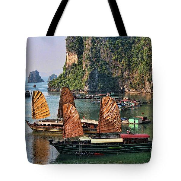 Orange Sails Asian Cruise Vietnam  Tote Bag