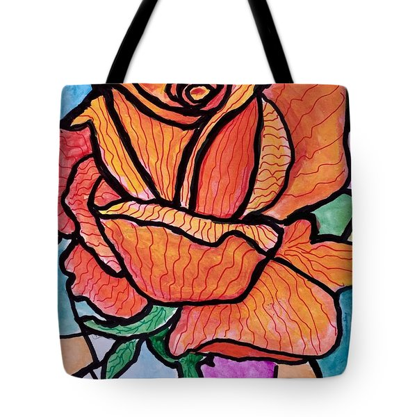 Orange Stained Glass Rose Tote Bag