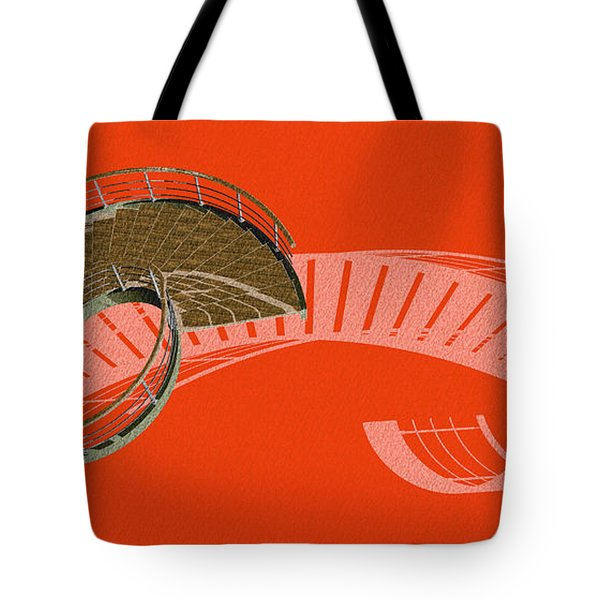 Orange Stair 47 And The Negative Red Shadow Tote Bag