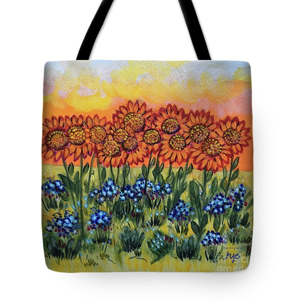 Orange Sunset Flowers Tote Bag