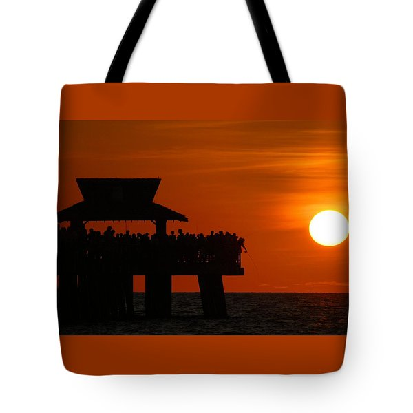 Orange Sunset In Naples Tote Bag