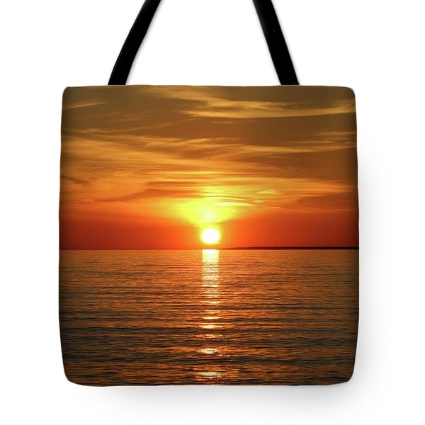 Tote Bag featuring the photograph Orange Sunset Lake Superior by Paula Brown