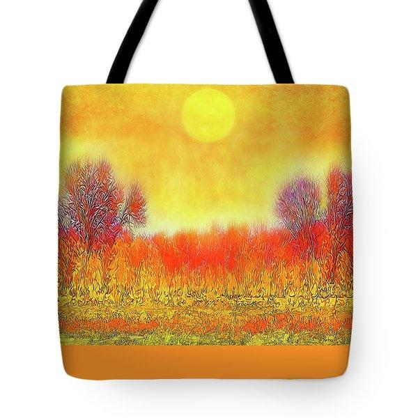Orange Sunset Shimmer - Field In Boulder County Colorado Tote Bag