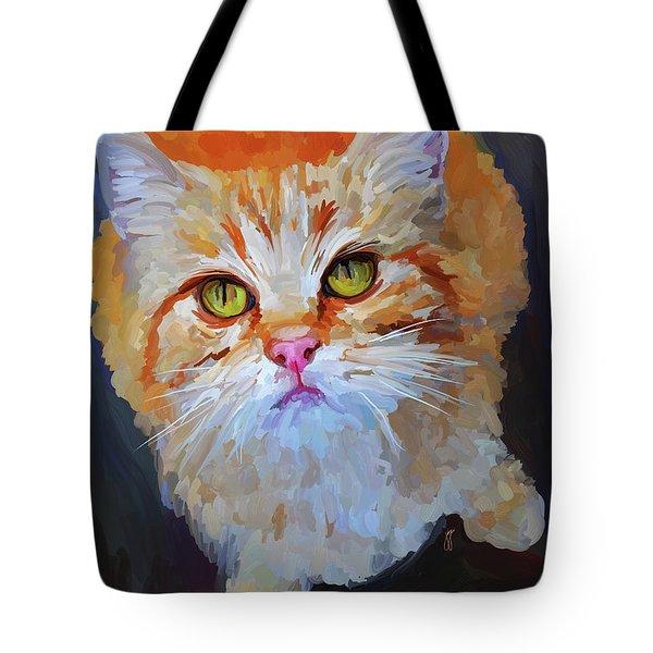 Orange Tabby Cat Tote Bag by Jai Johnson