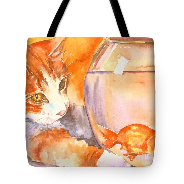 Orange Tabby With Goldfish Tote Bag