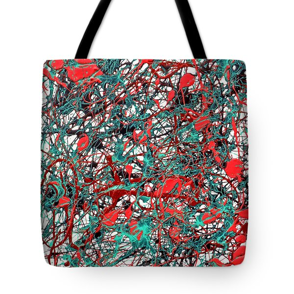 Tote Bag featuring the painting Orange Turquoise Drip Abstract by Genevieve Esson