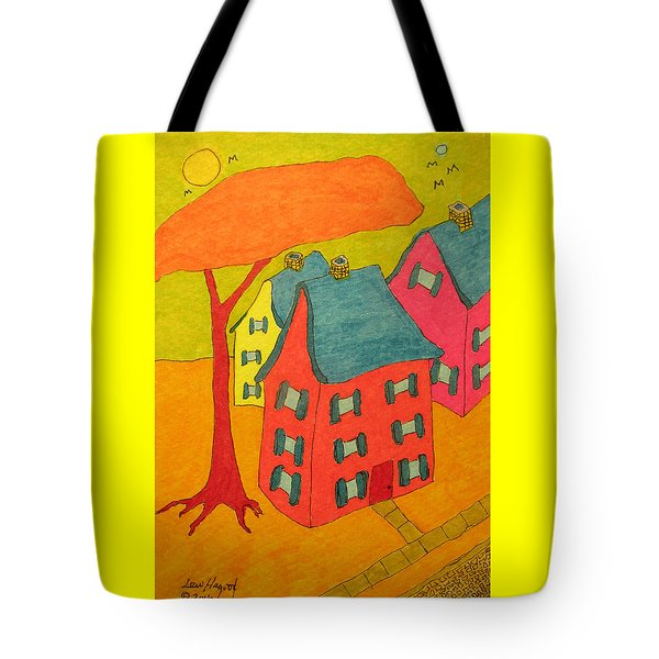 Orange Umbrella Tree And Three Homes Tote Bag