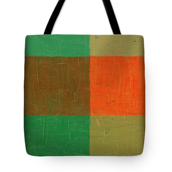 Orange With Brown And Teal Tote Bag by Michelle Calkins