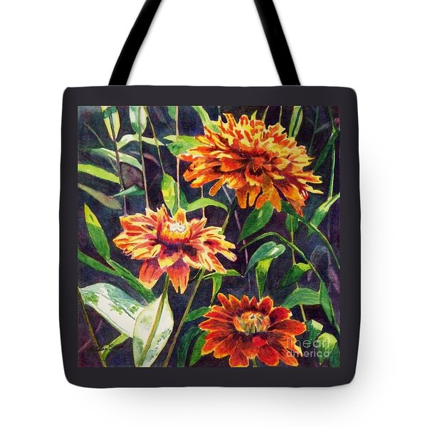 Tote Bag featuring the painting Orange Zinnias by LeAnne Sowa