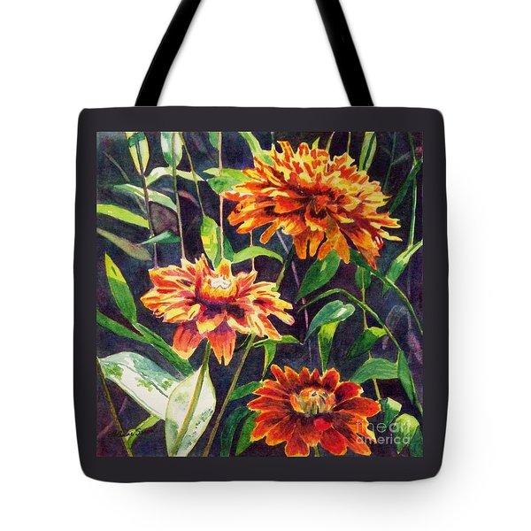 Orange Zinnias Tote Bag by LeAnne Sowa