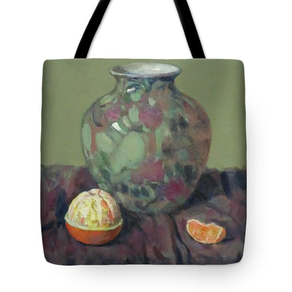 Oranges And Floral Porcelain Vase Tote Bag