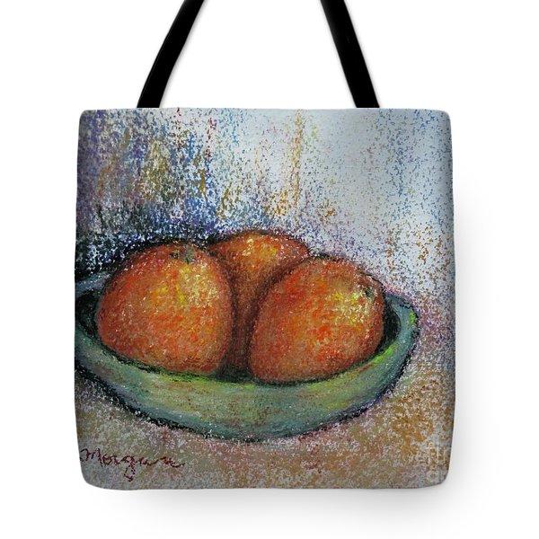 Oranges In Celadon Bowl Tote Bag