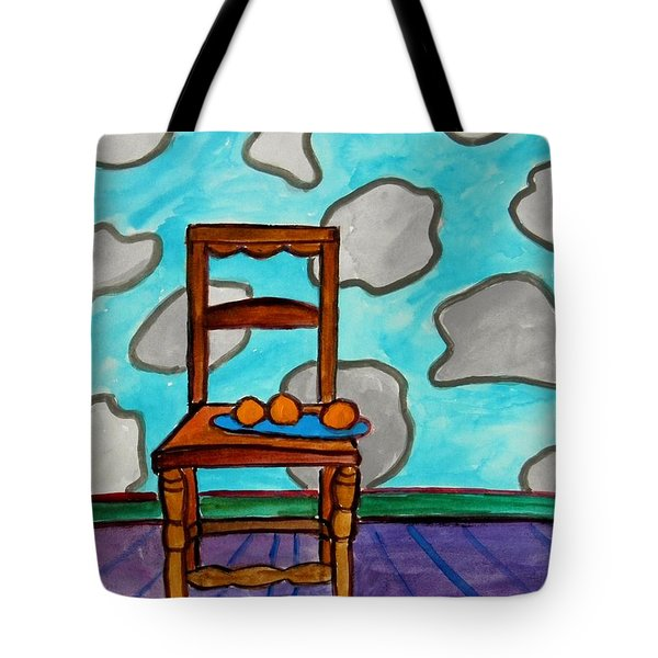 Oranges On A Blue Plate Tote Bag by John Williams