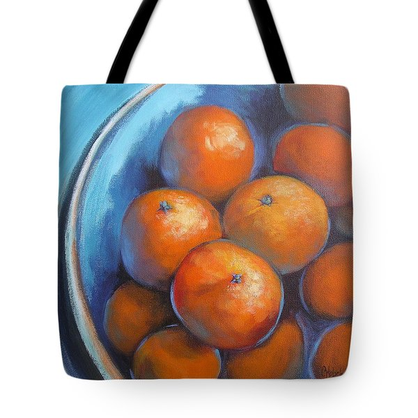 Tote Bag featuring the painting Oranges On Blue Acrylic Original Painting by Chris Hobel