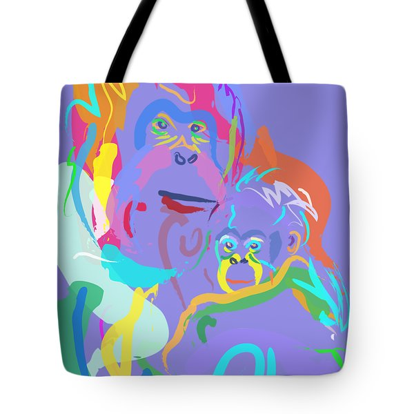 Orangutan Mom And Baby Tote Bag