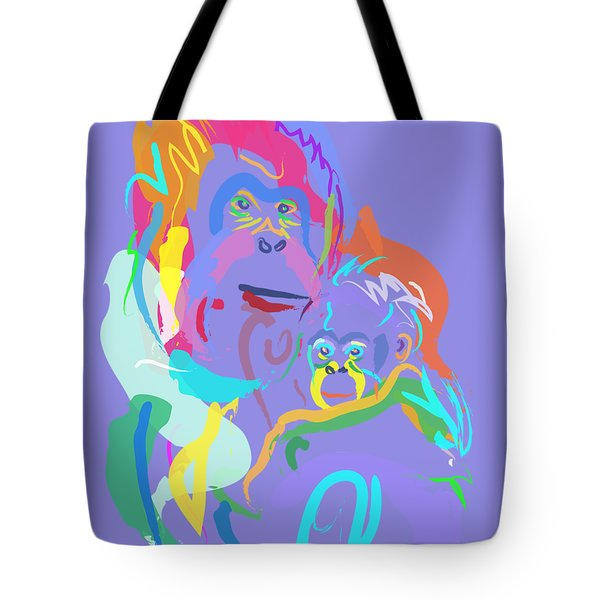 Orangutan Mom And Baby Tote Bag