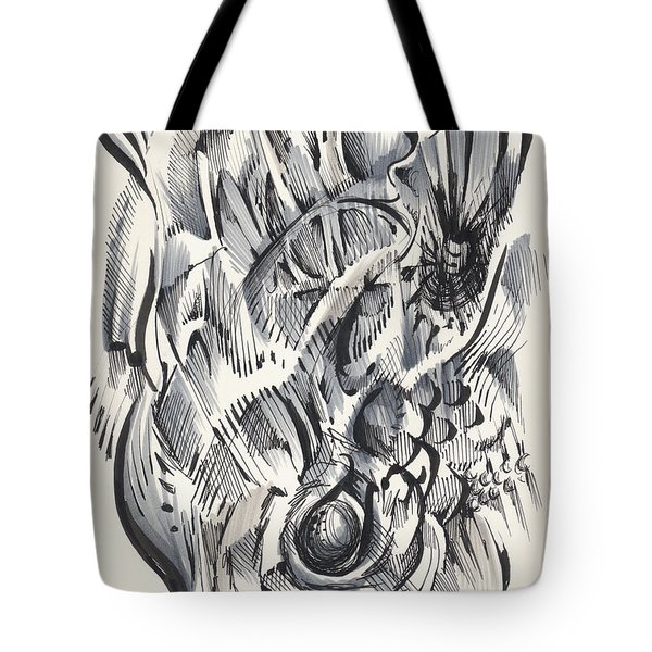 Tote Bag featuring the drawing Orbit by Keith A Link