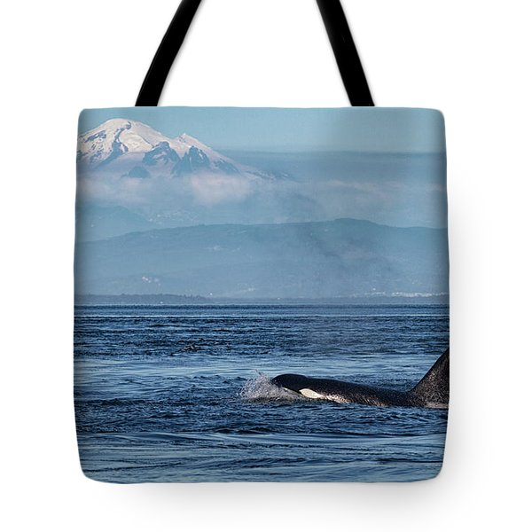 Orca Male With Mt Baker Tote Bag