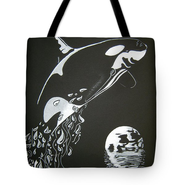 Tote Bag featuring the drawing Orca Sillhouette by Mayhem Mediums