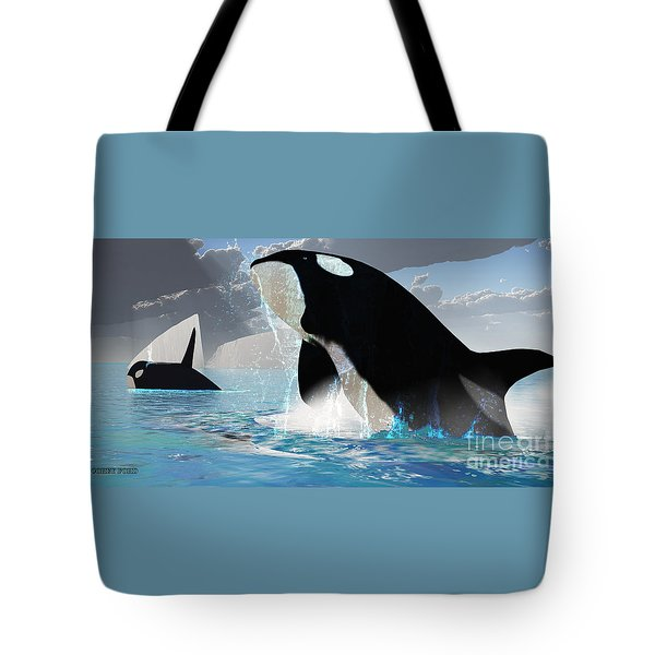 Orca Whales Tote Bag by Corey Ford
