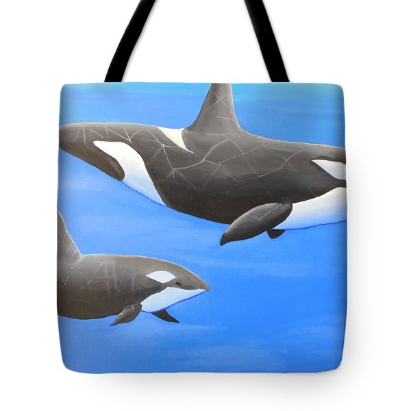 Orca With Baby Tote Bag