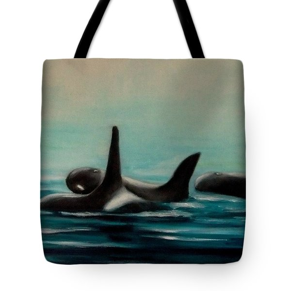 Tote Bag featuring the painting Orca's by Annemeet Hasidi- van der Leij