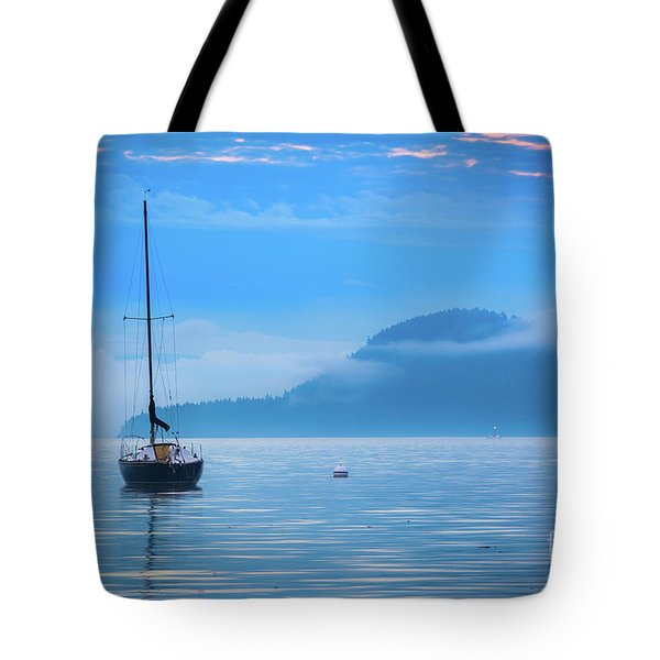 Orcas Sailboat Tote Bag by Inge Johnsson