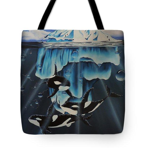 Orcas Versus Glacier Tote Bag