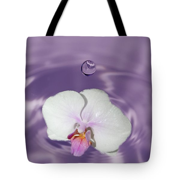 White Orchid Water Drop Tote Bag