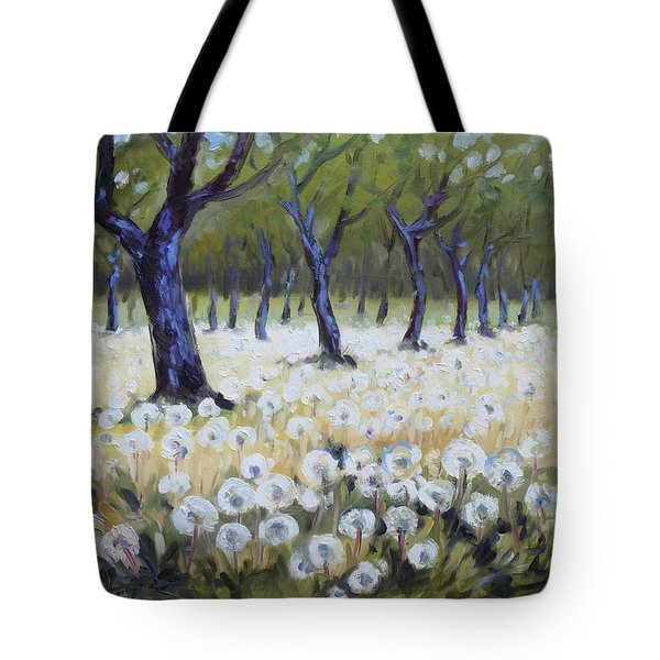 Orchard With Dandelions Tote Bag