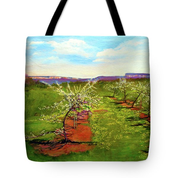 Orchard With Flowering Trees Tote Bag
