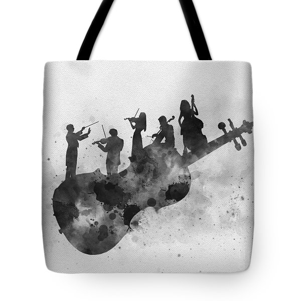 Orchestra Black And White Tote Bag