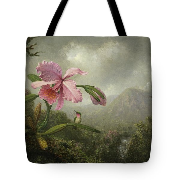Orchid And Hummingbird Near A Waterfall Tote Bag