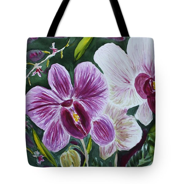 Tote Bag featuring the painting Orchid At Aos 2010 by Donna Walsh