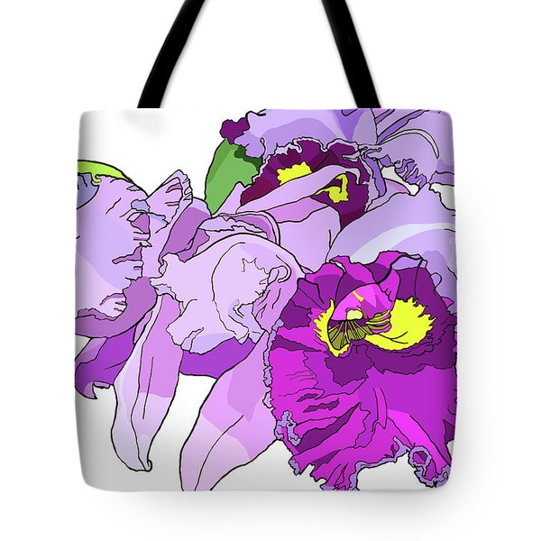 Orchid Cluster Tote Bag by Jamie Downs