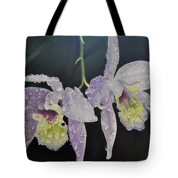 Tote Bag featuring the painting Orchid Jewels by AnnaJo Vahle
