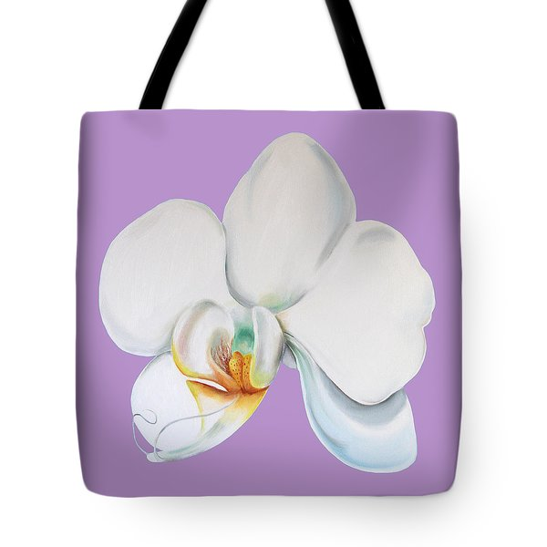 Tote Bag featuring the digital art Orchid On Lilac by Elizabeth Lock