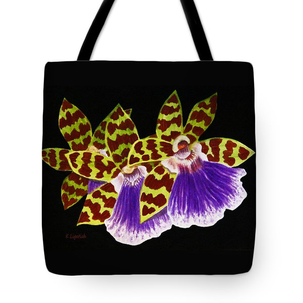 Tote Bag featuring the painting Orchids - Jumping Jacks With Black Background by Kerri Ligatich