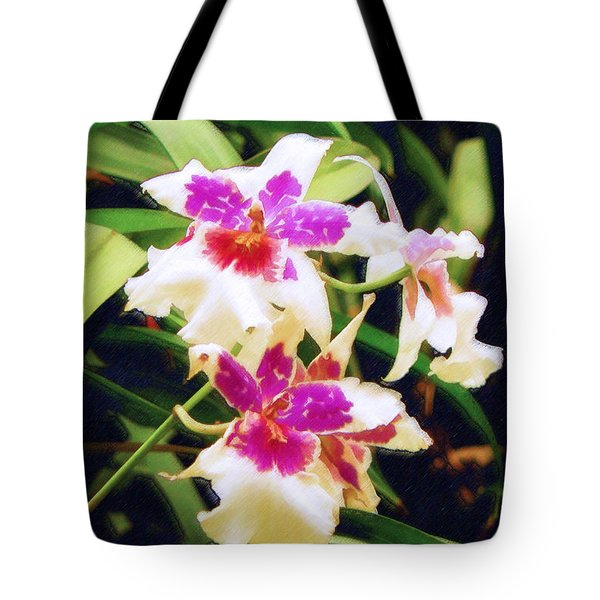 Tote Bag featuring the painting Orchids 1 by Sandy MacGowan